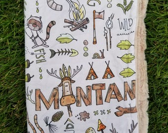 Montana Boy Blanket-Montana Blanket-Montana Decor-mountain Blanket-Moose Blanket-baby Shower gift-camping blanket