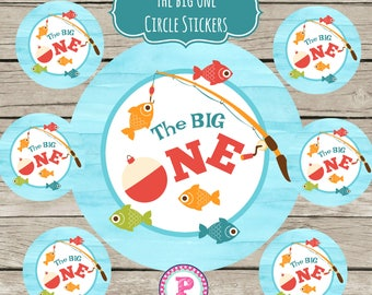 INSTANT The Big One Gone Fishing Circle Stickers Party Labels Favor Tags Treat Bag Birthday Boy Thank You Reel Fun Fish Fisherman Watercolor