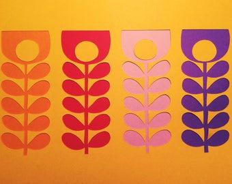 Orla Kiely inspired rainbow stem papercut
