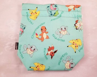 Pokemon Knitting Project Bag, Small Sock bag, eevee bag, project bag, pikachu bag, drawstring bag, storage bag, bag for knitting