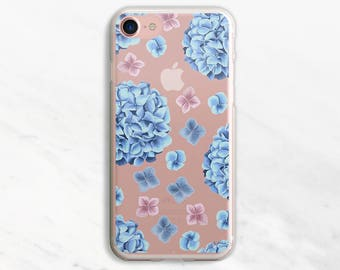 Blue Flowers iPhone 7 Case Clear Floral iPhone 6 Case Flower iPhone 6 Plus Case Blue Floral Case Watercolor iPhone iPhone 7 Plus Case 5s 5