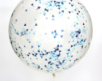 "Confetti Balloon / Ocean Jumbo 36"" balloon - Blue, Navy, Light blue"