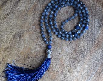 Labradorite / Sodalite / 108 Bead Mala / Yoga / Spiritual Jewelry / Healing Gemstone / Tassel Necklace / Hill Tribe Silver / Sterling