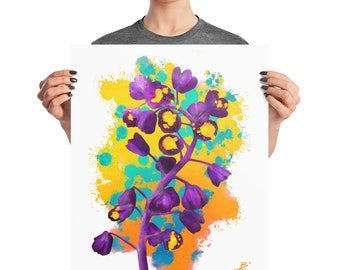 Yellow Purple Graffiti Flower Buds Poster, 8x10, 16x20, 18x24, Watercolor Print Decor, Abstract Modern Print