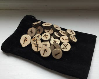 Birch runes with velvet bags