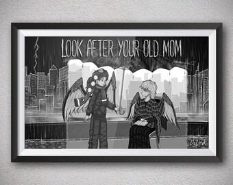 Gray scale Dark art Gothic art Anime art prints Black wings Mother with son Plaid coat Rain Umbrella Rain storm City landscape Heartfelt