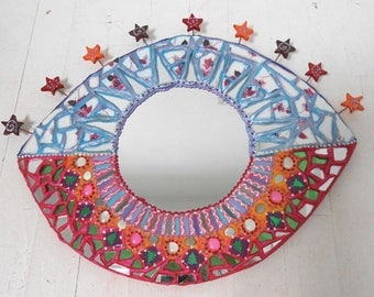 "mirror eye ""starry sunset"" 50 X 43 cm in mosaic and painting cheerful OOAK - unique art"