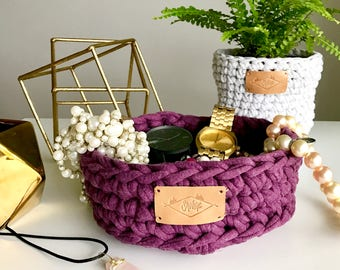 Cotton basket / 6.5in x 3in / Small / Purple / Crochet / Hand crocheted / Recycled cotton fiber