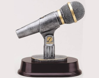 "6 1/2"" Microphone Resin Award with Custom Engraved Plate"