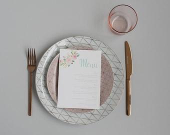 Pastel Floral Wedding Menu -  Mint & Grey Wedding Menu - On the Day Stationery - Wedding Day