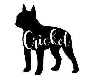 Boston Terrier Silhouette Customized Decal Dog Sticker