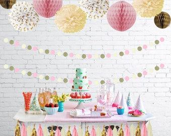 Pink Cream Glitter Gold Baby Shower Party Birthday Decorations Tissue Paper Pom Pom Honeycomb Tassel Garland Polka Dot Garland for Girls