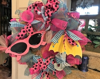 Summer Rain or Shine Poly Deco Mesh Wreath
