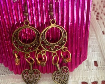 MOON AND HEART, Earrings, beads, Jewellery