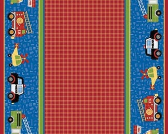 Kids fabric Panel patchwork firefighters RESCUE 911