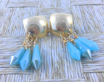Lovely Handmade Earrings made with Bronze Domes Platted in 18k Gold and Turquoise Crystals