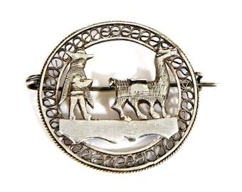 Antique 1940s Peruvian Brooch, 925 Silver, Filigree Sterling Pin, Peru Llama Jewelry, Animal Shepherd, Tribal Quechua Inca, Native American