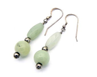 Green Beaded Earrings, Chinese Dangle Earrings, 925 Sterling Silver, Aventurine Earrings, Green Prehnite Beads, Antique 40s Chinese Jewelry