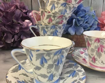 Royal Grafton Ashley Pink or Blue Tea Cup and Saucer Set Porcelain China Vintage England Made Lovely EVC Multiples teacup Chintz