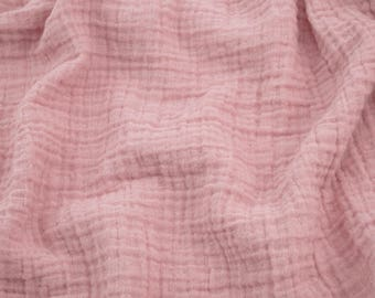 """Double Gauze Fabric in Blush Pink - half yard - Sunny Double Gauze - 100% cotton muslin fabric, 52"""" wide - perfect for swaddles"""