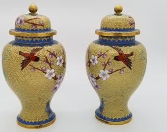 """Mirror Pair of Vintage 8"""" H,  Cloisonne Vase with lid"""