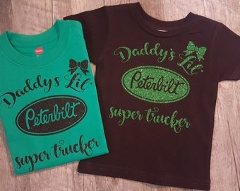 Preemie Newborn, Baby Girl, Toddler, Monogramed,Name, Peterbilt, Bodysuit, Trucker Girl, Daddys Girl, Super Cute, Girl Trucker w/Bow