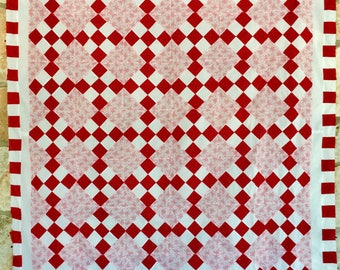 Red & White Nine Patch Unfinished Quilt Top