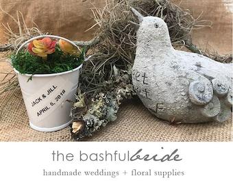 Succulent pail favor, bucket wedding favor, mini tin buckets, party favor pails.