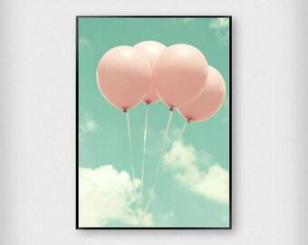 Balloons Print | Kids | Green - Pink | Sky - Children - Poster