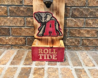 Rustic Alabama Crimson Tide Bottle Opener with Roll Tide on base