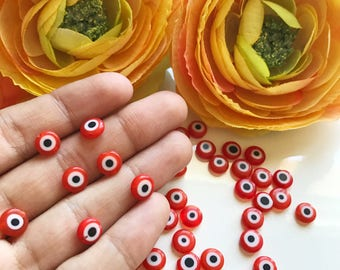 Flat red evil eye glass beads, Red evil eye beads, Turkish evil eye, Evil eye glass beads, wholesale beads, Nazar boncuk, 6mm to 12mm