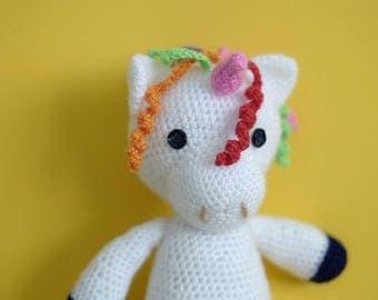 Plush Unicorn made to crochet, unicorn multicolor Amigurumi