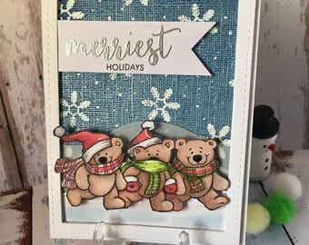 Greating card, crismas card, snow, winter, bears, hand made, stamps , water color, embossing , alcoholic markers, one of a kind