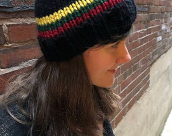 Hand knit winter beanie hat with Lithuanian flag stripe