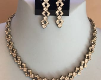 Vintage Rhinestone Necklace and Earring Set
