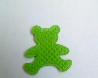 Applique fabric bear green 19x17mm