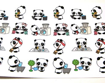 Panda Stickers - Panda Planner Stickers - Chore Stickers - Cleaning Stickers - Shopping Stickers - Laundry - Sweeping - Busy Pandas