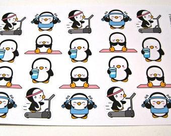 Penguin Stickers - Penguin Planner Stickers - Workout Stickers - Fitness Stickers - Healthy Penguins - Busy Penguins
