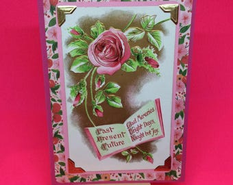 Valentine card for girlfriend, vintage, handmade, upcycled, collectable, unique Valentine's Day cards, pink floral Valentines love card
