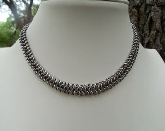 Antique Silver Chain Maille Wrap Bracelet Choker Convertible Jewelry