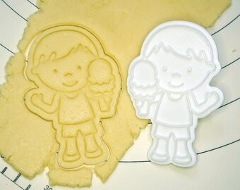 Boy Holding Ice Cream Cookie Cutter and Stamp