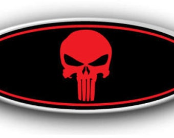 NEW Ford F150 2015-2017 Punisher Overlay Emblem Decal-Sticker Black & Red Printed Vinyl Front, Rear, Steering Wheel