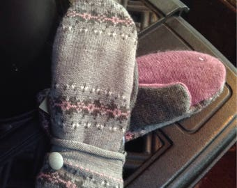Soft gray sweater mittens