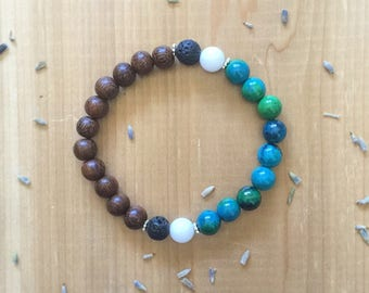 Essential Oil, Diffuser Bracelet, Chrysocolla Beads, White Agate Beads, Madre De Cacao Beads, Black Lava Beads