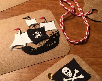 Pirate Tags, Pirate Birthday Tags, Skull, Treasure chest map, Pirate ShipGift Tags, Pirates party theme, Pirate Goodie Bag Tags - 6/order