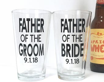 Father of the Bride and Groom Beer Glass - Personalized Wedding Day Gift for Dad - Beer Pint - Mug - Custom Date - Dad Gift