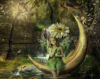 Digital Background / digital backdrop / fantasy forest, pond with fish, golden moon , water lily , prop for composite photography.