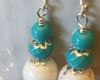 Turquoise earrings, white and turquoise earrings