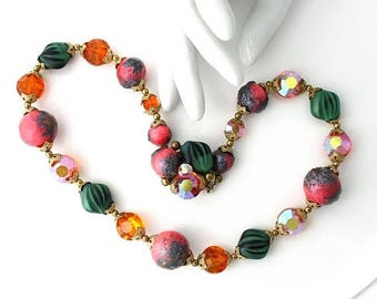 SALE Vintage Necklace Aurora Borealis Beads , Statement, Multi Color Beads, Chunky Necklace, TheKeepDrawer