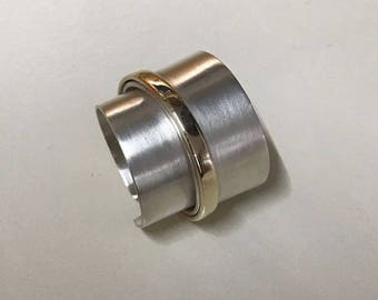 Gold and Silver multi-texture ring